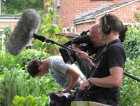 Image: The One Show crew films for Hedgehog Street