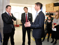 Image: Prime Minister David Cameron at Oxford Cryosystems with (l to r) Dr Alex Renshaw, Richard Glazer, Jane Bevan and Susannah Penn